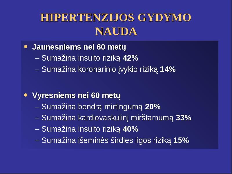 hipertenzija 40 metų, kaip gydyti