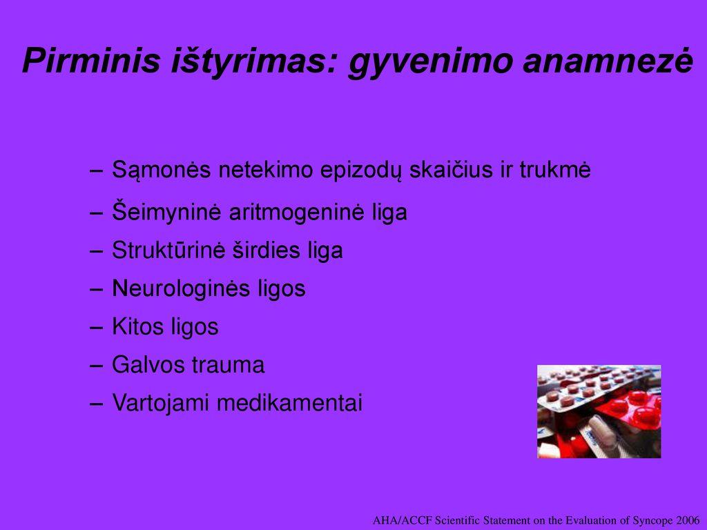 sąmonės netekimas ir hipertenzija)