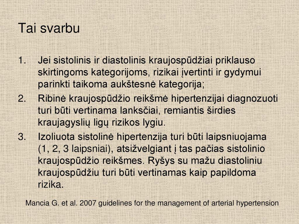 spalvos hipertenzija