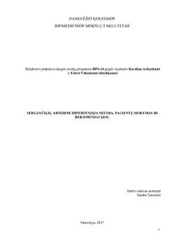 mitybos rekomendacijos dėl hipertenzijos)