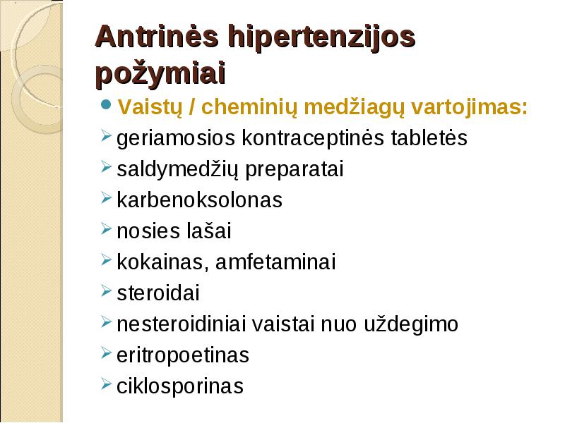 ar gali atsirasti hipertenzija nuo kontraceptinių tablečių