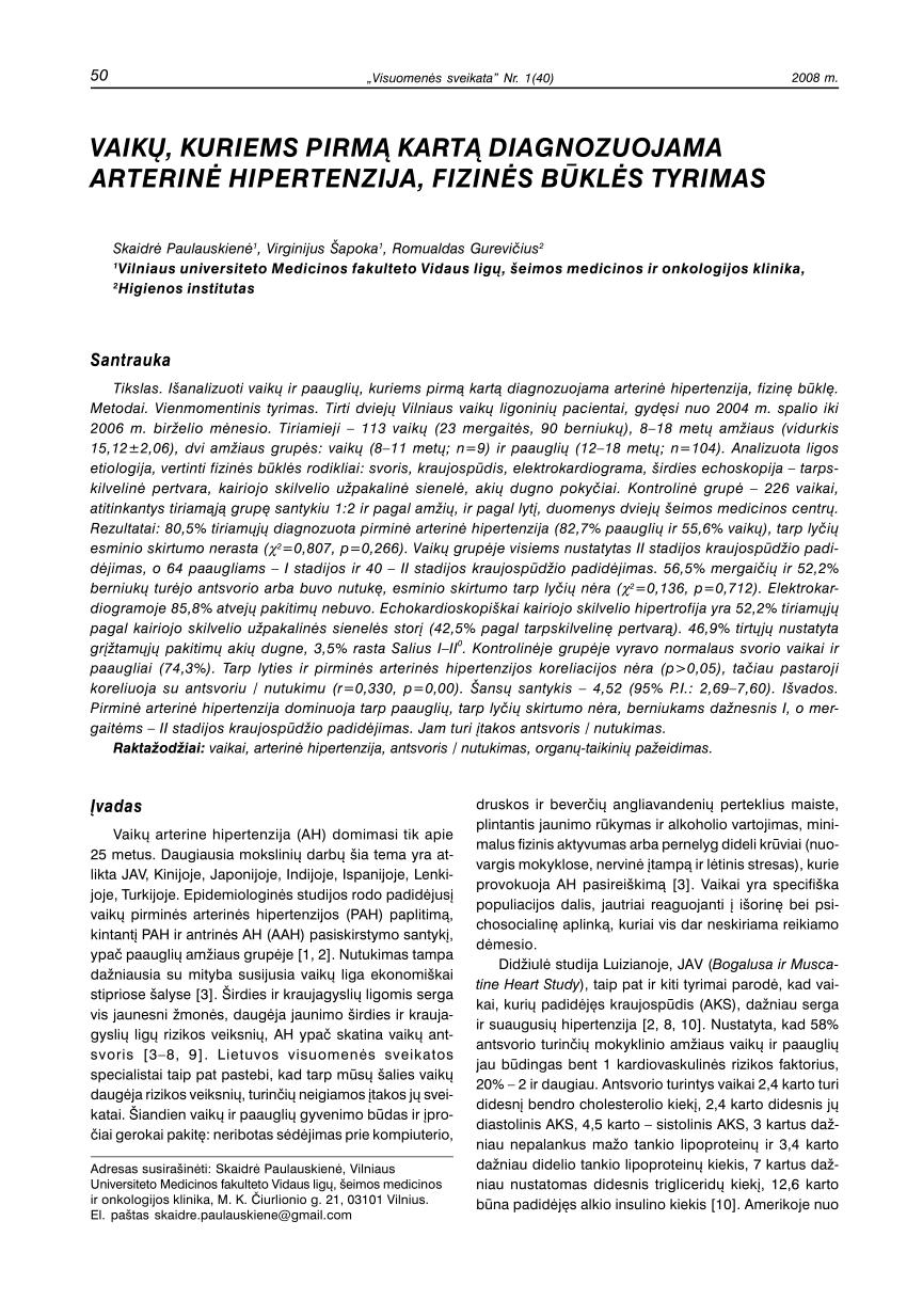 medicininė hipertenzijos istorija pagal vidaus mediciną)