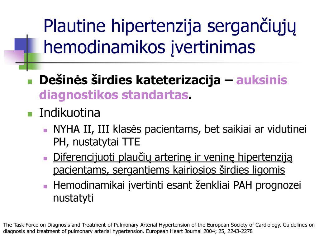 hipertenzijos standartai