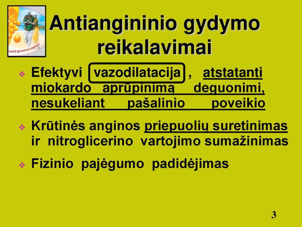 nitroglicerino vartojimas hipertenzijai gydyti